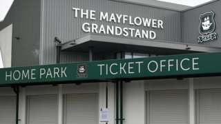 Plymouth's Home Park ticket office and stadium
