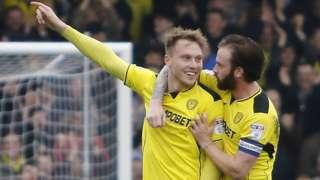 Burton's Cauley Woodrow celebrates his goal against Nottingham Forest