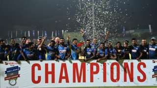 Sri Lanka with the ODI series trophy