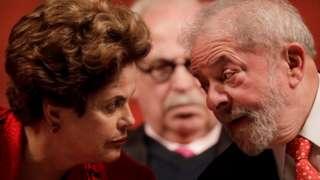 Former Brazilian Presidents Dilma Rousseff and Luiz Inacio Lula da Silva speak in Brasilia, Brazil on 5 July, 2017