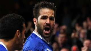 Cesc Fabregas celebrates scoring for Chelsea against Swansea