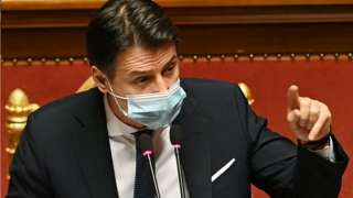 Giuseppe Conte addressing senators, 19 Jan 21