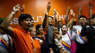 Supporters of Thailand's Future Forward Party celebrate