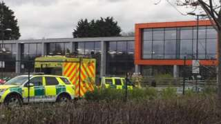 Ambulance and fire crews at Witham chemical incident