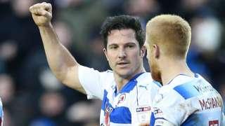 Yann Kermogant (left) celebrates his first-half goal against Norwich
