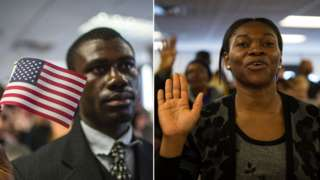 African immigrant - man and woman during citizenship ceremony for US