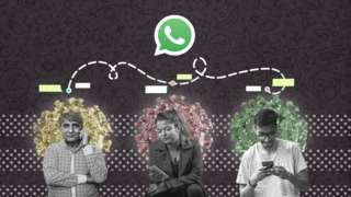 Collage art of three people looking at their phones, standing in front of Covid virus symbols with a large WhatsApp symbol above them