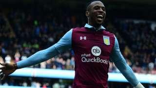 Jonathan Kodjia celebrates his goal for Villa v Norwich
