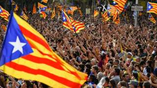 Protesters gather in Barcelona city centre