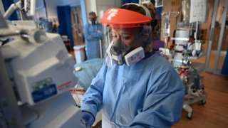 A member of clinical staff in PPE at Royal Papworth Hospital in Cambridge