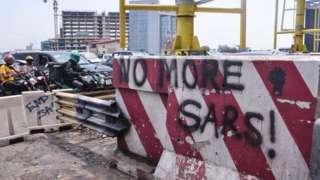Graffitti written on the Lekki toll gate on 30 October 2020