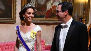 The Duchess of Cambridge and US Secretary of the Treasury Steven Mnuchin