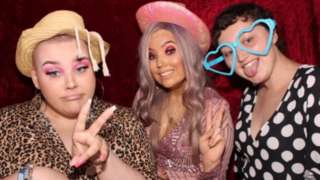 Charlie, Sophie and Gina in a photo booth for Sophie's 21st birthday