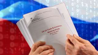 Illustration of confidential UK government documents held in front of a Russian flag.