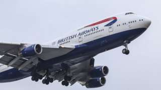 British Airways Boeing 747-400 airplane, the large jumbo jet with the nickname Queen of the skies