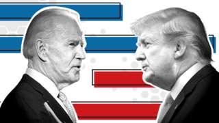 Headshots of Joe Biden and Donald Trump facing each other