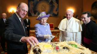 Queen Elizabeth II and Prince Philip, Duke of Edinburgh, have an audience with Pope Francis, during their one-day visit to Rome on April 3, 2014 in Vatican City, Vatican