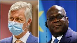 King Philippe of Belgium, left, and President Felix Tshisekedi of DR Congo