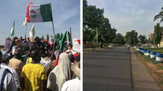 Picture collage of workers dey protest for Kaduna and empty street