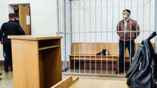 Stepan Latypov in Minsk' courtroom