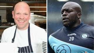 Chef Tom Kerridge and Wycombe striker Adebayo Akinfenwa