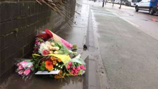 Flowers at the scene of the death