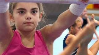 gymnasts training