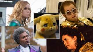 Clockwise from top left: Brie Larson in Captain Marvel, Detective Pikachu, Taron Egerton in Rocketman, Olivia Colman in The Favourite and Samuel L Jackson in Glass
