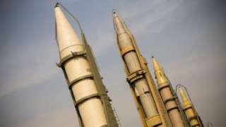 Iranian missiles on display