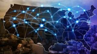رسم لشبكة على خريطة الولايات المتحدة
