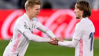 Martin Odegaard comes on for Real Madrid as a substitute