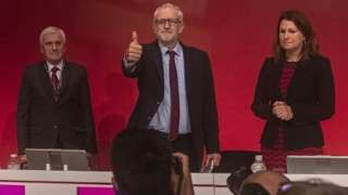 Jeremy Corbyn at the end of a debate on the conference floor