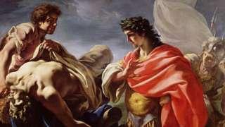 Aquiles contemplando el cuerpo de Patroclo.