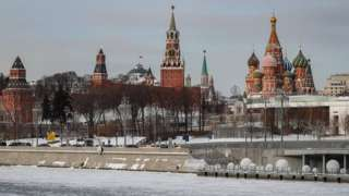 Ice cover a Moscow river in front of the Kremlin in Moscow