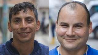 Duas fotos de homens sorrindo para a câmera