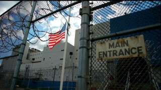 The main entrance to Rikers Island prison