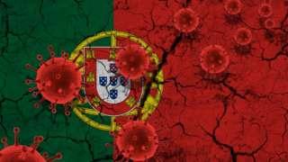Ilustração bandeira Portugal e Coronavírus