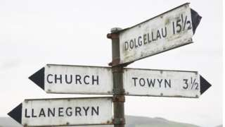 A signpost with different Welsh place names on