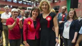 Labour MPs Jo Stevens and Anna McMorrin celebrate their wins