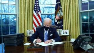 President Biden quickly signed executive actions on coronavirus, climate change and racial inequality