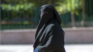 Woman wear niqab for street of Morocco for 2017.