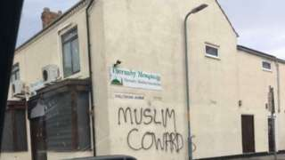 Graffiti on Thornaby Mosque