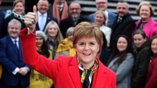 Nicola Sturgeon with newly-elected MPs
