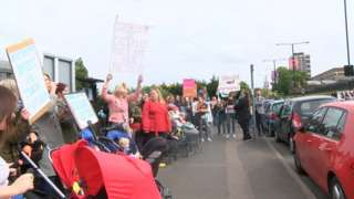 Protesters campaigning about children's centres closures in Medway