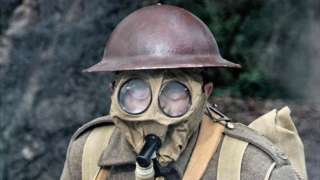 WW1 gas mask being demonstrated