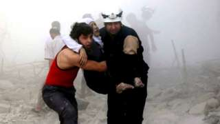 White Helmets rescuing Syrian war victims, 7 Oct 16