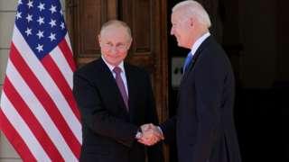 Russian President Vladimir Putin and U.S President Joe Biden shake hands during their meeting at Villa la Grange in Geneva, Switzerland June 16, 2021.
