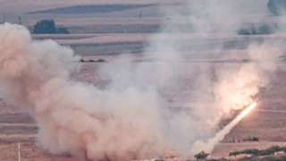 Turkish forces fire a missile towards Syria. Photo: 15 October 2019