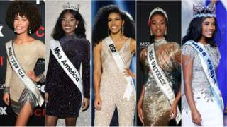 From left, Kaliegh Garris, Miss Teen USA; Nia Franklin, Miss America; Cheslie Kryst, Miss USA; Zozibini Tunzi, Miss Universe; and Toni-Ann Singh, Miss World.Credit...