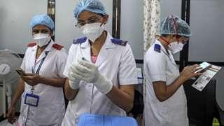 A nurse prepares a shot of COVID-19 vaccine inside a vaccination centre at Shatabdi Hospital in Mumbai, India, 01 April 2021